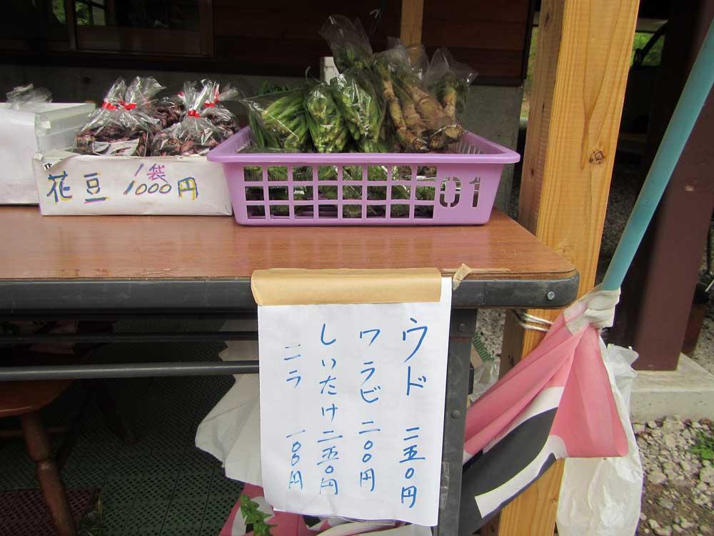 チャツボミゴケ公園事務所前の売店(お買い得です!)