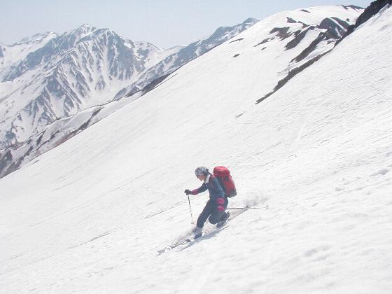 白馬稜線から最後の大滑降