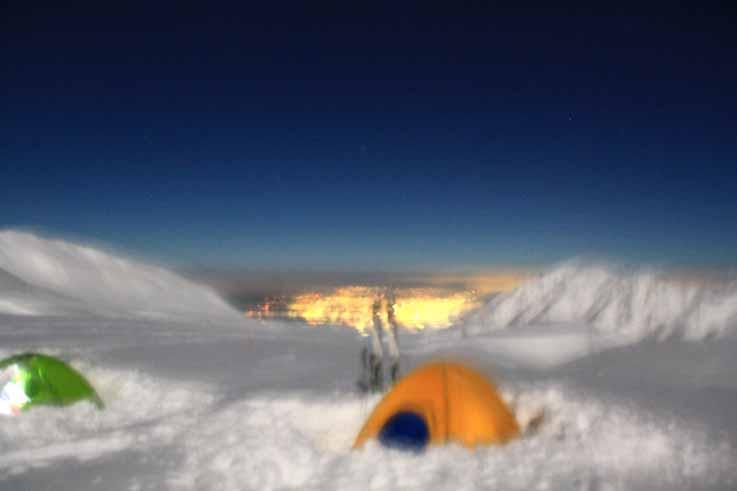 ブレブレですが、テン場から富山の夜景