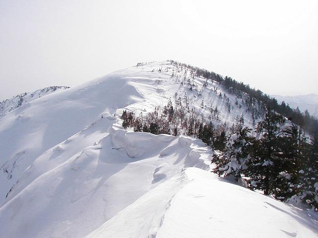 上ノ倉山直下の急斜面はツボ足で登る。